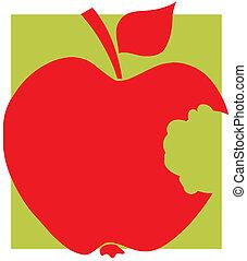かまれた, 赤, シルエット, アップル