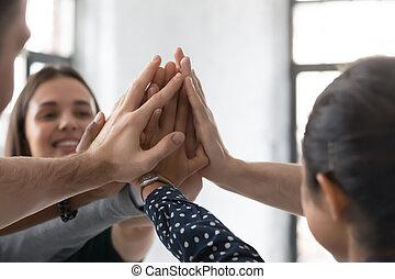 かみ合った, businesspeople, オフィス, teambuilding, 活動, 多様