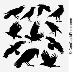 からす, 鳥, 動物, シルエット