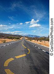 からまる, 車線, 印, 上に, 道, 中に, 砂漠