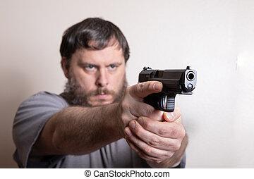 から, 準備ができた, 銃, 保有物, 彼の, 人