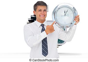 から, 開いているドア, ステップ, 不安である, 本, 保有物, 提示, ビジネスマン, に対して, 作られた, 時計