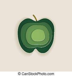 から, purposes., 緑, 使用, 層にされる, 切口, デザイン, 印刷, style., ポスター, ロゴ, 概念, 招待, 有色人種, paper., 他, ペーパー, カード, 芸術, 網, アップル