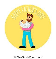 かわいい, あごひげを生やしている, 葉書, hipster-style, カード, 父, 挨拶, イラスト, 日, s, 招待, baby., ∥あるいは∥, print.