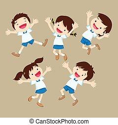 かわいい, ありなさい, 男の子, 跳躍, 様々, 学生, 女の子, actions., 幸せ