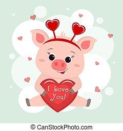 かわいい, おめでとう, 足, 愛 中心, テキスト, 手掛かり, 豚, 平ら, バレンタイン, day., s, ベクトル, 漫画, 座る, デザイン, bezel, you., スタイル