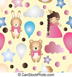 かわいい, おもちゃ, パターン, 漫画, 女の赤ん坊, うさぎ