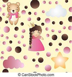 かわいい, おもちゃ, パターン, 熊, 女の赤ん坊, 漫画