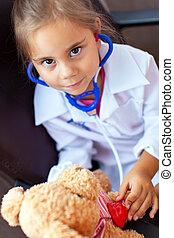 かわいい, おもちゃ, 医者, 遊び, 子供, 女の子, プラシ天