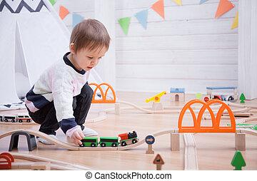 かわいい, おもちゃ, 家, 鉄道, 遊び, 道, 子供