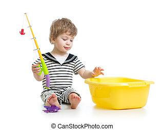 かわいい, おもちゃ, 男の子, 棒, 子供, 遊び