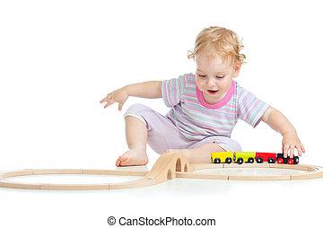 かわいい, おもちゃ, 隔離された, 遊び, 子供, 白, 鉄道, 幸せ