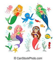 かわいい, くらげ, 背景, ヒトデ, set., 隔離された, mermaids, 藻, タコ, 動物, 白, 漫画, 海, seahorse