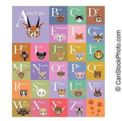 かわいい, そして, カラフルである, 動物, アルファベット