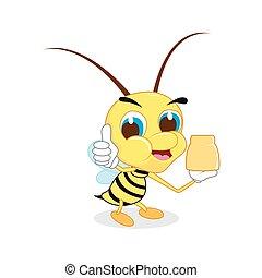 かわいい, の上, 蜂, 漫画, 親指