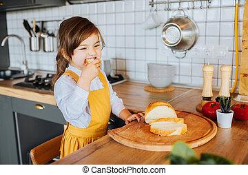 かわいい, わずかしか, のまわり, kitchen., 女の子, 遊び