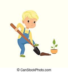 かわいい, わずかしか, シャベル, 堀る, 実生植物, 男の子, 特徴, 植物, イラスト, ベクトル, 背景, 白, 穴