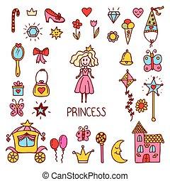 かわいい, わずかしか, セット, elements., アイコン, collection., 手, ベクトル, デザイン, 甘い, 引かれる, 王女