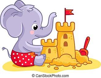 かわいい, わずかしか, プレーする, 建造する, sand., 砂, 動物, 象, 浜, castle.