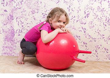かわいい, わずかしか, ボール, 女の子, 体操