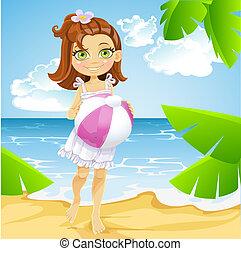 かわいい, わずかしか, ボール, 日当たりが良い, 女の子, 浜