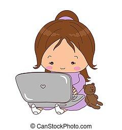 かわいい, わずかしか, モデル, laptop., 女の子, 遊び