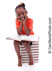 かわいい, わずかしか, 人々, -, 白, 本, 隔離された, アメリカ人, 黒い背景, アフリカ, 女の子の読書, 子供