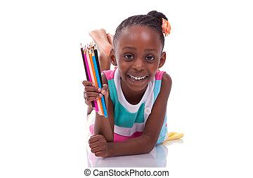 かわいい, わずかしか, 保有物, 人々が彩色する, 白, -, 隔離された, アメリカ人, 黒い背景, アフリカ, 女の子, 子供, 鉛筆