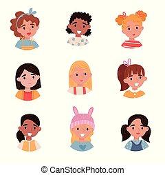 かわいい, わずかしか, 子供, セット, 女の子, avatars, 感情, 別, ヘアスタイル, ベクトル, 背景, イラスト, 白, 美しい