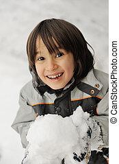 かわいい, わずかしか, 子供, 保有物, 雪玉