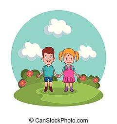 かわいい, わずかしか, 子供, 公園, 恋人
