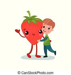 かわいい, わずかしか, 子供, 友人, 男の子, 健康, 特徴, 巨人, イラスト, 食物, ベクトル, 抱き合う, 漫画, 最も良く, いちご