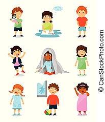 かわいい, わずかしか, 子供, 幸せ, 考え, 怒る, セット, 女の子, 眠い, 別, 感情, おびえさせている, 男の子, ベクトル, 叫ぶこと, イラスト, 背景, 白
