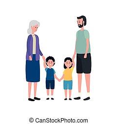 かわいい, わずかしか, 子供, 恋人, 祖父母