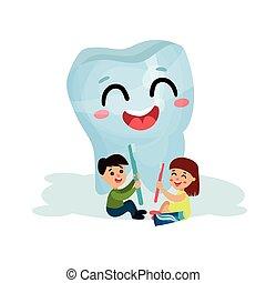かわいい, わずかしか, 子供, 歯医者の, 特徴, 巨人, イラスト, 歯, ベクトル, 健康, 清掃, 歯ブラシ, 微笑, 漫画, 心配