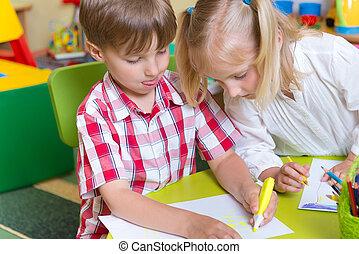かわいい, わずかしか, 子供, 2, 図画, 幼稚園
