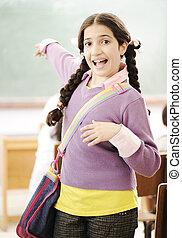 かわいい, わずかしか, 学校, 女の子