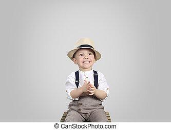 かわいい, わずかしか, 帽子の男の子