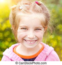 かわいい, わずかしか, 幸せ, 女の子, 肖像画