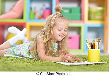かわいい, わずかしか, 床, 家肖像画, 女の子, 図画
