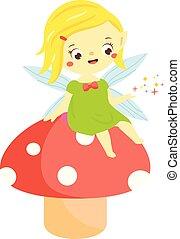 かわいい, わずかしか, 庭, 座りなさい, mushroom., 妖精, 妖精, 妖精