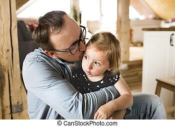 かわいい, わずかしか, 彼の, 娘, 父, 若い, home.