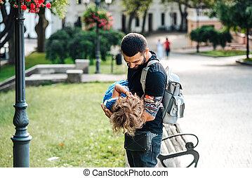 かわいい, わずかしか, 彼女, 父, 女の子, 腕