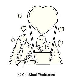 かわいい, わずかしか, 恋人, 飛行, 空気, 暑い, 鳥, balloon