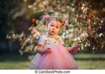 かわいい, わずかしか, 春, 公園, 肖像画, 女の子
