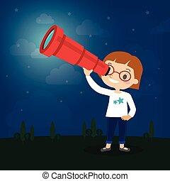 かわいい, わずかしか, 望遠鏡, 監視, によって, 女の子, 漫画