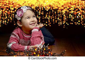 かわいい, わずかしか, 木, 背景, 肖像画, 女の子, クリスマス