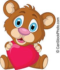 かわいい, わずかしか, 漫画, 熊, ブラウン