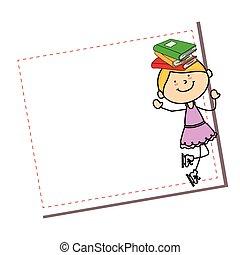 かわいい, わずかしか, 特徴, 女の子, カード