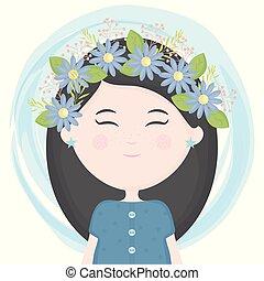かわいい, わずかしか, 王冠, 特徴, 毛, 花, 女の子